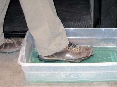 Footbaths are a great way to prevent the spread of disease on boots.